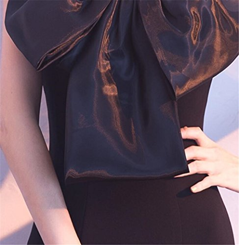 Sera Sexy Bra z Sottile Fishtail Hosting Da Maniche Abito Senza Copricapo l Elegante Elegence Banchetto black Tridimensionale Backless qBtSgPw