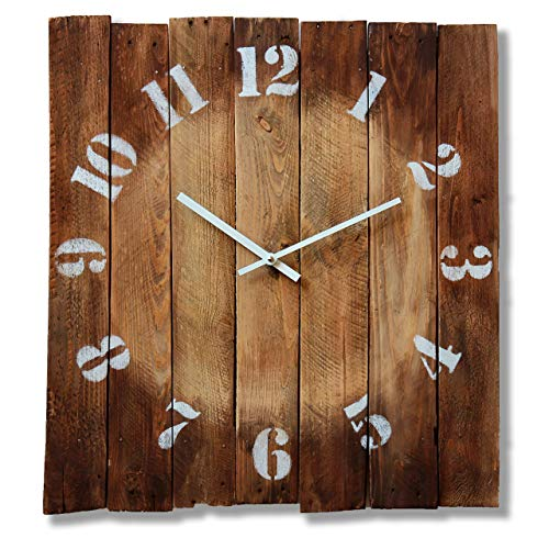 Large Square Wood Rustic Wall Clock 20-inch – Silent Non Ticking Gift for Home/Office/Kitchen/Bedroom/Living Room Review