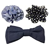 Bow & Arrow Pet Dog Collar Accessories, Two Dog Collar Flowers and One Bow Tie, Slide On Attachment, Navy
