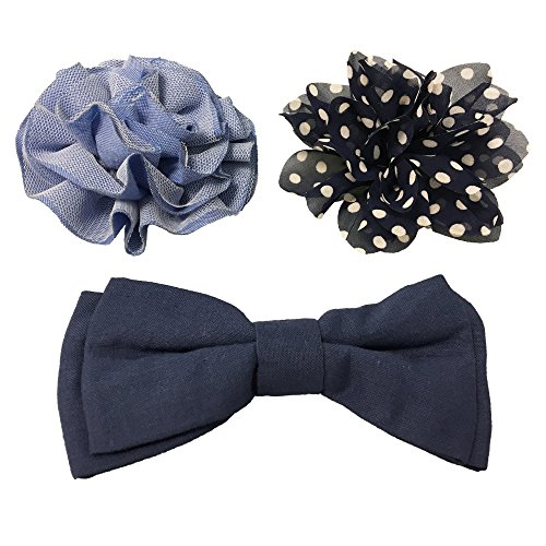 Collar Glam (Bow & Arrow Pet Dog Collar Accessories, Two Dog Collar Flowers and One Bow Tie, Slide On Attachment, Navy)