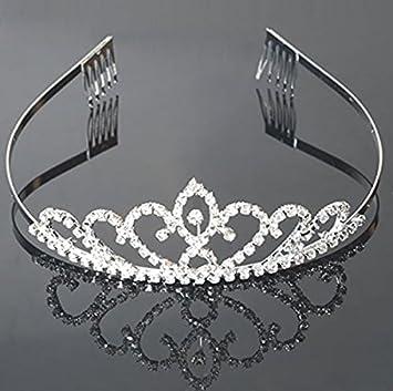 Amazon.com   USA Seller Flower Style Tiara Crown Headband Comb Pin Charming  Rhinestone Wedding Bridal Bride Party Birthday Tiaras   Fashion Headbands    ... c101b12be3a
