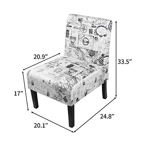 AODAILIHB Armless Accent Chair Modern Fabric Printing Leisure Chair Single Sofa Deco Living Room Bedroom Office Armless Chair Map 2Pcs