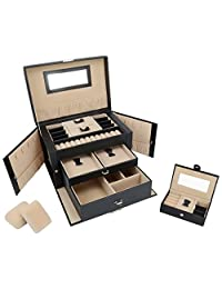 SortWise Lockable Jewelry Box Storage 20 Compartments Large Capacity Multi-Layer Leather Showcase Organizer Case with TRAVEL CASE / MIRROR/ 5 DRAWER / KEY for Studs Earrings Rings Necklace (3 Layers /Black)