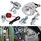 IGEMY 12V 6W Bicycle Motorized Bike Friction generator Dynamo Headlight Tail Light Kit (Silver)
