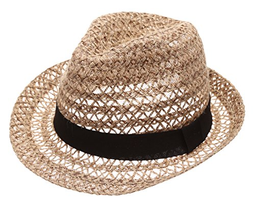 MIRMARU Summer Foldable Trilby Short Brim Lightweight 100% Linen Crushable Fedora Hat with Band(Beige) -