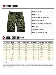 OCHENTA Men\'s Cotton Casual Multi Pockets Cargo Shorts #3231 khaki 36