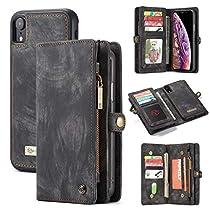 BTJP-1 iPhone XR Wallet Case,XR Leather Wallet Case Flip Magnetic Detachable Case,Premium Cowhide Leather Purse Phone Cover