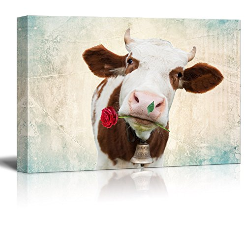 wall26 - Canvas Print Wall Art - Milk Cow with a Rose in The Mouth with a Retro Style Background - Gallery Wrap Modern Home Decor | Ready to Hang - 16x24 inches]()