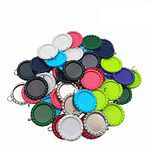 IGOGO 50 PCS Craft Flat Bottle Cap with Holes Flat- 8 mm Split Rings Attached Mixed Colors (10colors) for Hair Bows, DIY Pendants or Craft ScraPbooks