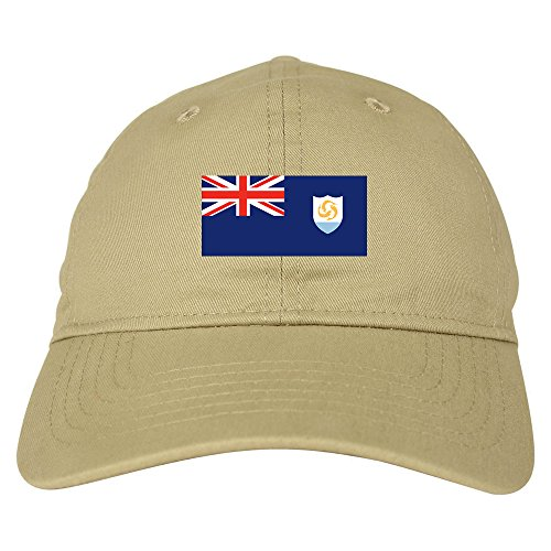Anguilla Flag Country Chest Dad Hat Baseball Cap Beige