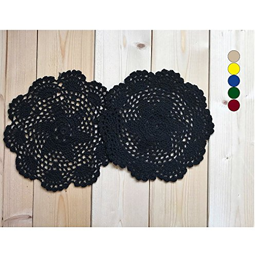 MAGO Handmade Crochet Cotton Lace Decorations, Lace doilies, Classic Style ,placemats, vase mat ,vase Pads, Coasters for Drinks, Multifunctional doilies, 2pcs/Pack ,Black,8