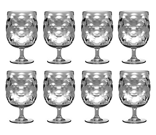 QG Clear Light Grey Stackable 12 fl oz. Acrylic Plastic Drinking Glass Tumbler Set of 8]()