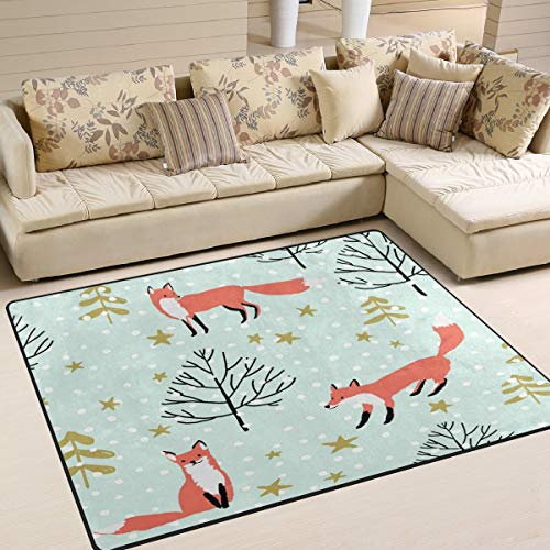 YEHO Art Gallery Large Area Rugs Red Fox in The Woodland Star Snow Modern Area Rugs for Living Room 7' x 5',Floor Entrance Mats Runner Area Rug for Bedroom Kids Room Carpet Rugs Home Decor (Star Snow Rugs)