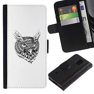 All Phone Most Case / Oferta Especial Cáscara Funda de cuero Monedero Cubierta de proteccion Caso / Wallet Case for Samsung Galaxy S5 V SM-G900 // Tribal Tattoo Pattern Owl