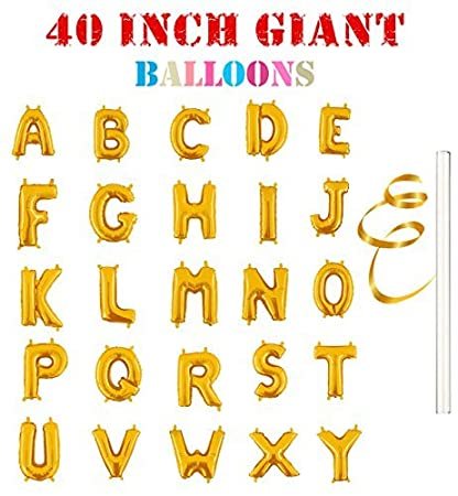 Amazon Com Rose Wood 40 Single Gold Alphabet Letter Balloons