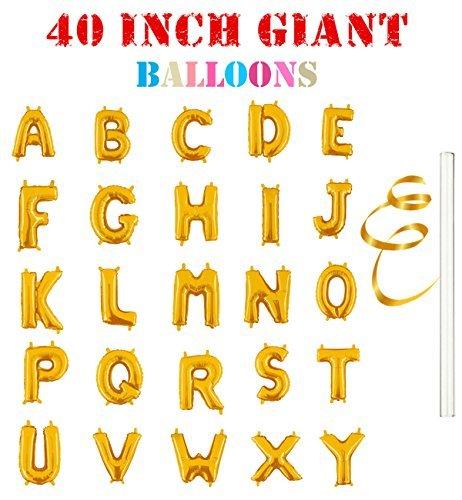 Rose&Wood 40 Gold Alphabet Letter Balloons Aluminum Hanging Foil Film Balloon Mylar Balloons (40 ,Letter O)