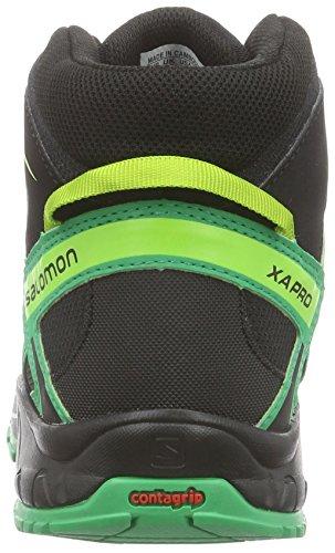 Salomon Xa Pro 3d Mid - Botas de senderismo Unisex Niños Verde - Grün (Black/Real Green/Granny Green)