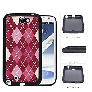 Preppy Argyle With Pink Variations Rubber Silicone TPU Cell Phone Case Samsung Galaxy Note 2 II N7100