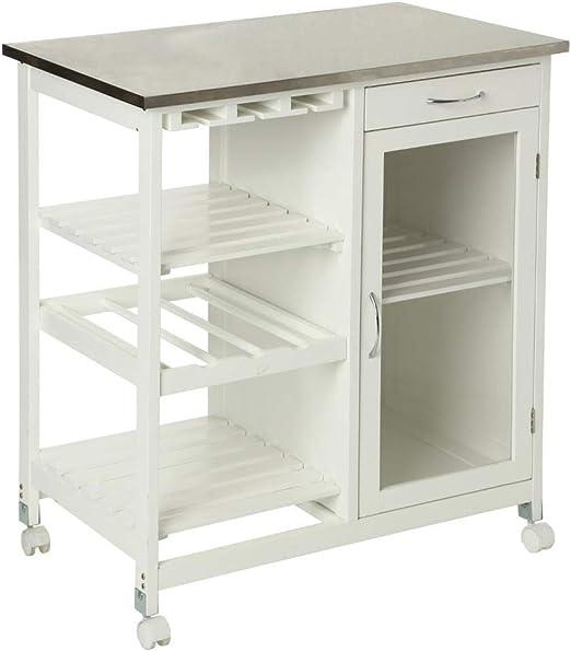 SECRET DE GOURMET Beistellwagen für die Küche mit einer Tischplatte aus  rostfreiem Stahl