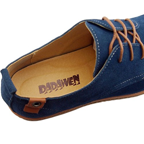 Dress Classic Oxford DADAWEN Leather Blue Shoes Mens Suede Casual Business Shoes qwXx6AIxc5