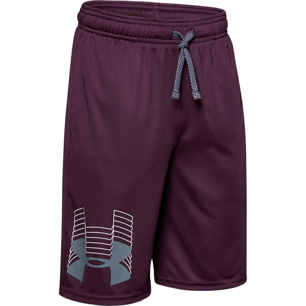 Under Armour boys Prototype Logo Shorts, Kinetic Purple (520)/Ash Gray, Youth X-Small
