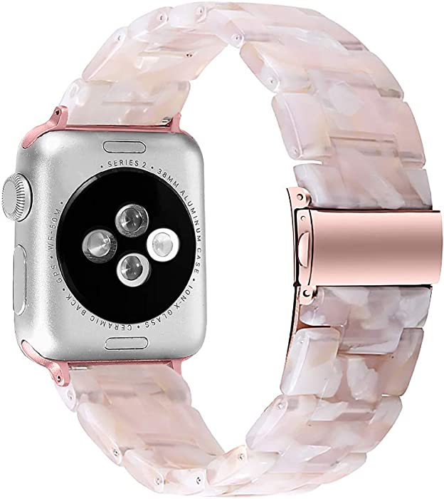 MEFEO Compatible with Apple Watch Band 38mm 40mm 42mm 44mm, Stylish Resin Bands Bracelet Replacement for iWatch Series 6 Series 5/4/3/2/1 & iWatch SE Women Men (Pink Flower, 38mm/40mm)