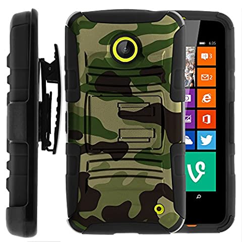 Nokia Lumia 635 Case, Nokia Lumia 630 Case, Two Layer Hybrid Armor Hard Cover with Built in Kickstand and Holster Belt Clip for Nokia Lumia 635, 630 (AT&T, Sprint, T Mobile, Cricket, Virgin Mobile, Boost Mobile, MetroPCS) from MINITURTLE | Includes Screen Protector - Green (Nokia Lumia 635 Cases For Guys)