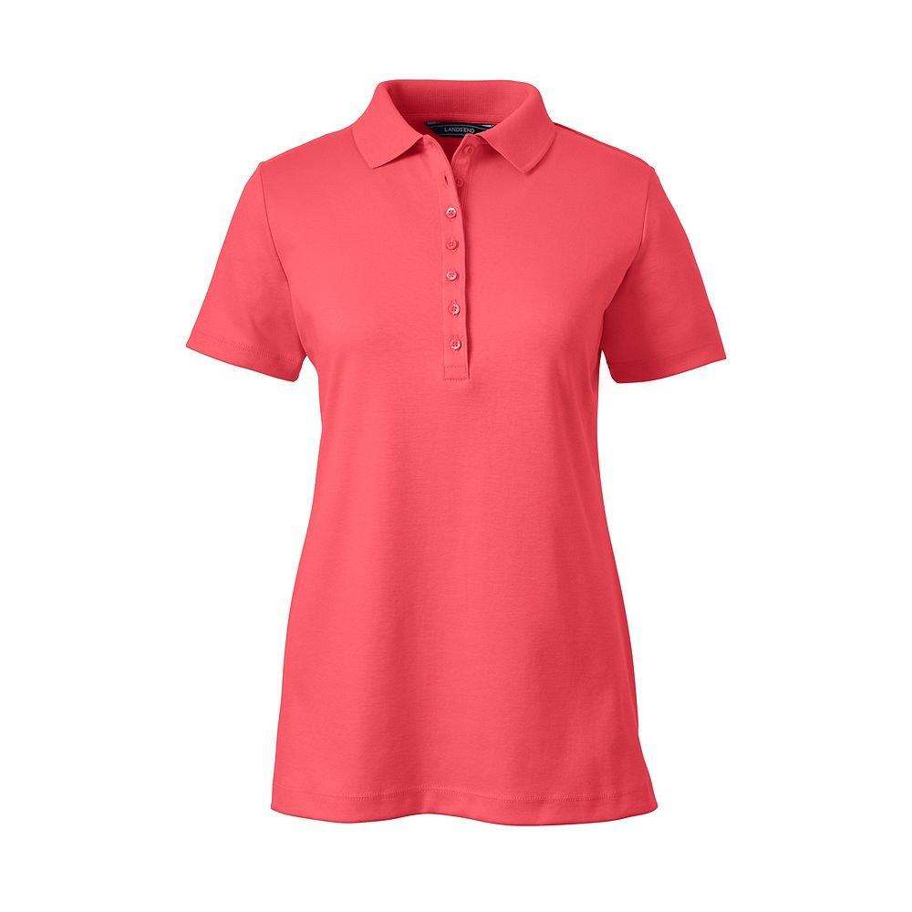 Lands' End Women's Pima Cotton Polo Shirt, XS, Light Watermelon Sorbet