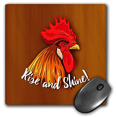 3dRose Russ Billington Designs - Colorful Rooster Design with Text- Rise and Shine - Mousepad (mp_241416_1)