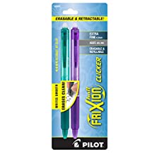 Pilot FriXion Clicker Retractable Erasable Gel Pens, Extra Fine Point, Assorted Color Inks, 2-Pack (32503)