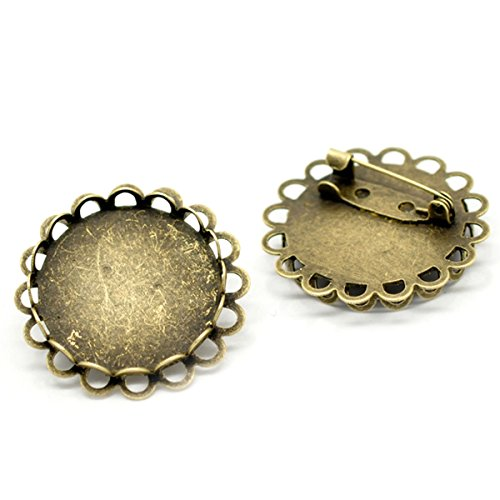 Cabochon Clasp - HOUSWEETY 10PCs Bronze Tone Round Cabochon Frame Setting Brooches 32mm(Fit 25mm)