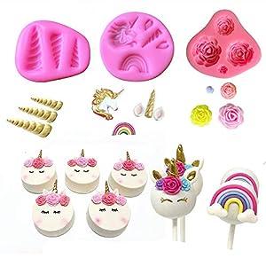Mini Unicorn Mold Unicorn Horn Ears Flower And Rainbow Cupcake Topper Fondant Chocolate Mold Set Of 3 By Aj by A&J