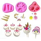 Mini Unicorn Mold Unicorn Horn Ears Flower and Rainbow Cupcake Topper Fondant Chocolate Mold( Set of 3)