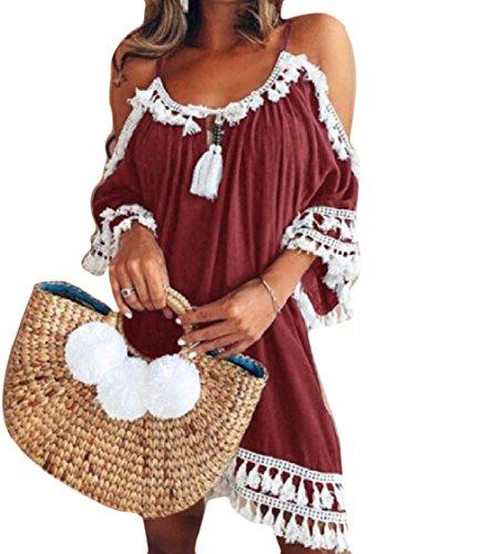 Coolred-femmes Houppe Pure Écharpe Couleur Vin Robe De Soirée Rouge Lâche Équipée