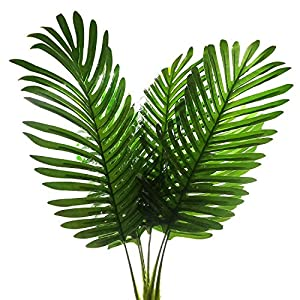 SLanC 5 Pack Palm Artificial Plants Leaves decorations faux large Tropical Palm Leaves Imitation Ferns Artificial Plants Leaf for Home Kitchen Party Flowers Arrangement Wedding Decorations 4