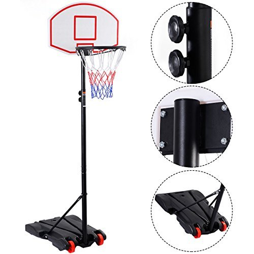 Basketball Hoop Portable Adjustable Sport Outdoor/Indoor Stand With Wheels With Ebook