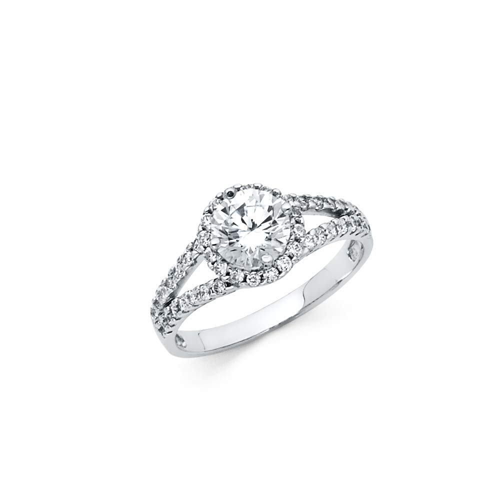 Wellingsale Ladies 925 Sterling Silver Polished Rhodium CZ Cubic Zirconia Wedding Engagement Ring