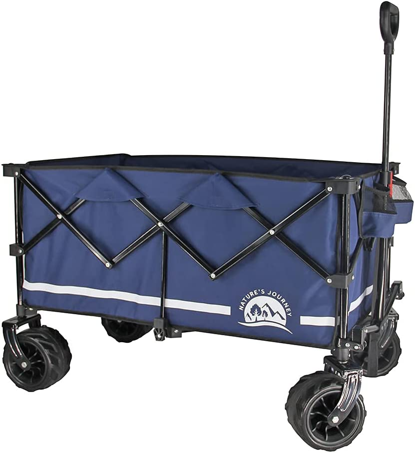Nature's Journey Heavy Duty Folding Wagon, Collapsible Outdoor Utility Wagon, with Oversized Bed and All Terrain Wheels, Navy