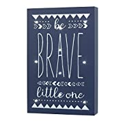 Little Love by NoJo Aztec Lighted Wall Decor, Be Brave Little One, Navy/White