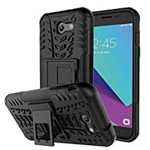 J3 Emerge Case, Galaxy J3 2017 Case, NOKEA [Drop Protection] [Shock Absorption] And Kickstand with Shockproof and Anti-Scratch and Non-Slip Case For Samsung Galaxy J3 2017 / J3 Emerge (Black)