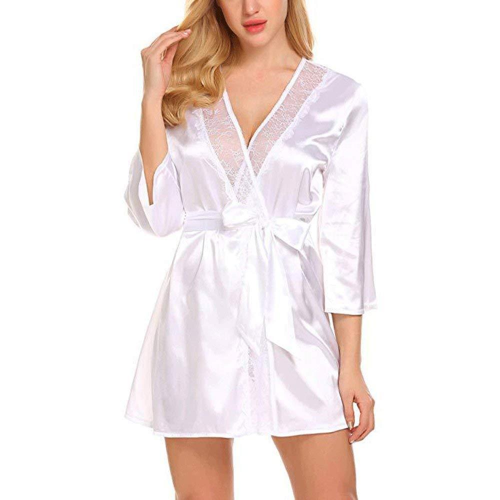Forall-Ms Bata De SatéN para Mujer, Batas De Estilo Kimono Cortas con Bata De Encaje Y Pijama De Dama De Honor De Dama De Honor Personalizada para ...