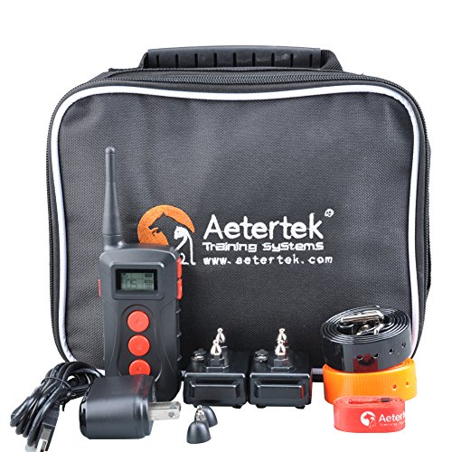 Aetertek 218C Shock Control Pet Dog Training Collar Waterproof Rechargeable LCD Remote with 10 Level of shock + beep+vibration 600 yards range (For 2 dogs)