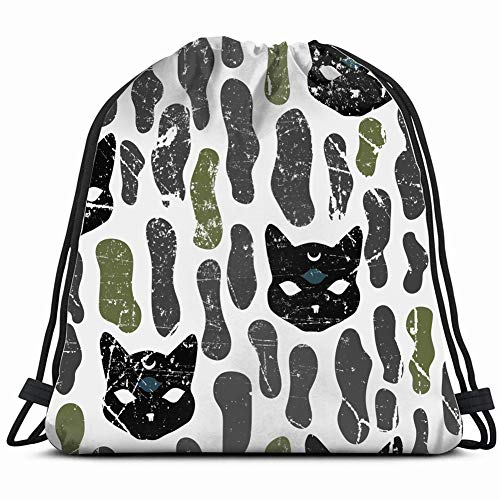 mystic cat seamles pattern halloween the arts advertisement Drawstring Bag for Women Drawstring Hiking Backpack Gym Bag for Women 17X14 Inch -