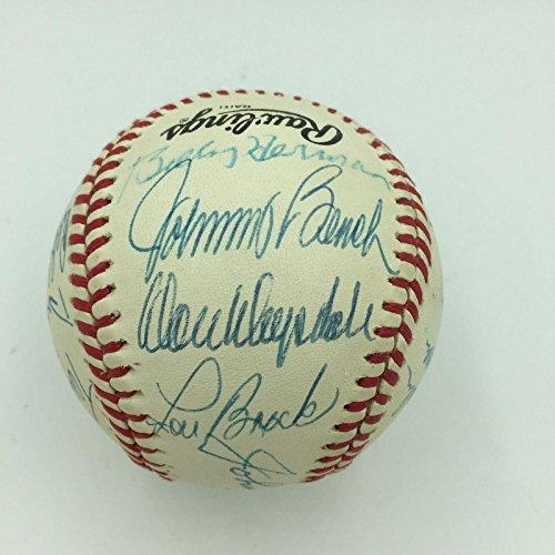 Johnny Bench Don Drysdale Duke Snider Lou Brock Hall Of Fame Signed Baseball - JSA Certified - Autographed Baseballs