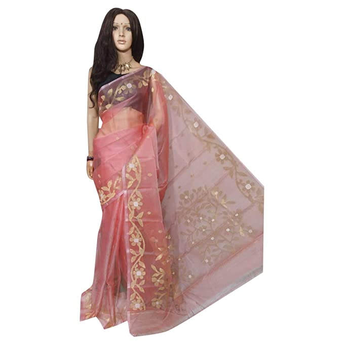 fee53f7671f58 Pink Ethnic Pure Resham Silk Saree with Jamdani Work on Pallu and Border  136a  Amazon.in  Clothing   Accessories