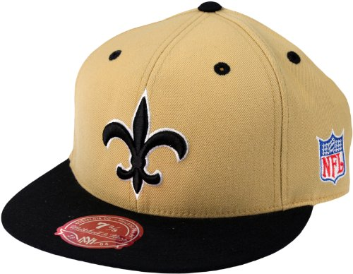 New Orleans Saints NFL Mitchell & Ness, 2 Tone Throwback Logo Hat, TT24M, Gold & Black (7 5/8) Logo Two Tone Wool