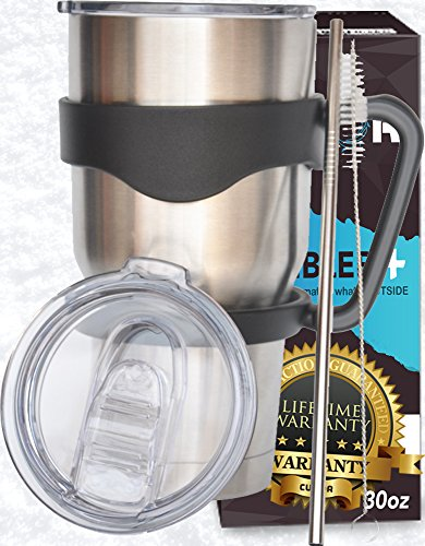 30 Oz. Stainless Steel Tumbler Cup with 2 SpillProof Lids. CuLoR All-in-one Set. LONGEST Hot & Cold Retention & WARRANTY FOREVER