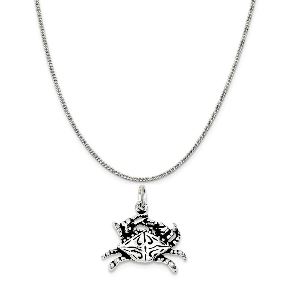 16-20 Mireval Sterling Silver Antiqued Crab Charm on a Sterling Silver Chain Necklace