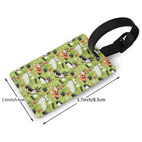 TriColored Corgi Halloween Costumes Cute Dog Fabric Luggage tags travel bag tags Thick PVC 2.2 X 3.7 inch]()