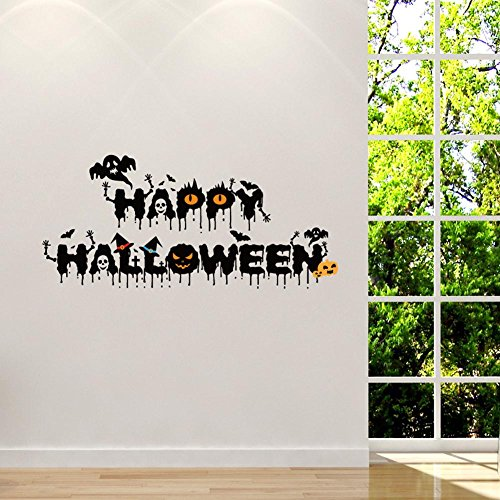 BIBITIME English Art Fonts Quotes Halloween Vinyl Sticker Ghosts Bats Wizard Witch Pumpkin Wall Decal for Nursery Bedroom Kids Room Shop Showcase Window Decor]()